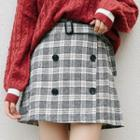 Plaid Buttoned Tweed Skirt