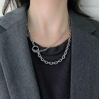 Geometric Layered Stainless Steel Necklace Silver - One Size