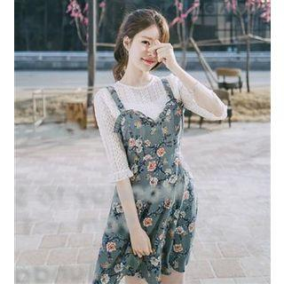 Floral Frilled Spaghetti Strap Dress