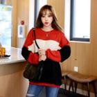 Color-block Oversized Sweatshirt