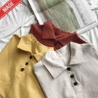 Linen Blend Button Accent Top