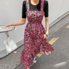 Floral Waist Drawstring-waist Suspender Dress