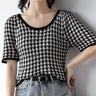 Short-sleeve Houndstooth Knit Top Black - M