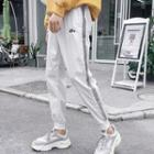 Cropped Reflective Lettering Jogger Pants