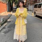 Spaghetti Strap Maxi Floral Dress / Open-front Cardigan