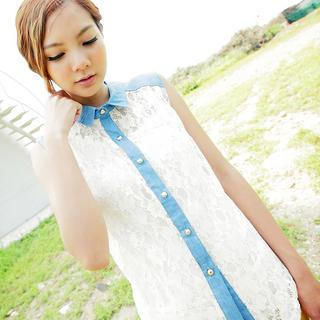 Denim-panel Sleeveless Lace Shirt