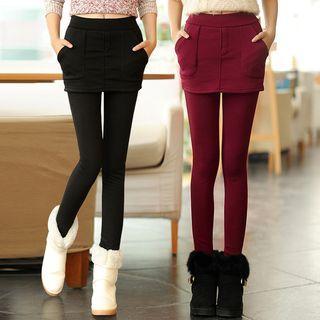Fleece Lined Inset Legging A-line Skirt