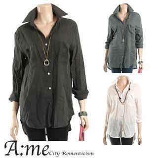 Pocket-front Long Shirt