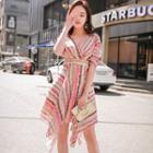 Elbow-sleeve Asymmetric Patterned A-line Dress