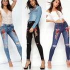 Embroidery Distressed Skinny Jeans