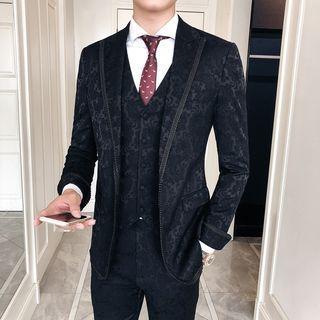 Suit Set: Paisley Blazer + Vest + Dress Pants