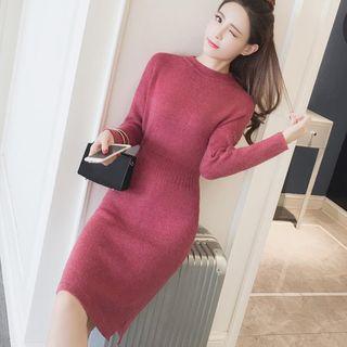Mock Neck Plain Knit Midi Dress