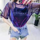 Set: Lettering Camisole Top + Short Sleeve Mesh T-shirt Dress