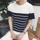 Colour Block Stripe Short-sleeve T-shirt