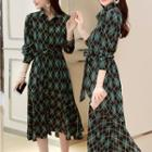 Tie-waist Patterned Midi Dress