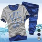 Set: Short-sleeve Contrast-trim Lettering T-shirt + Cropped Sweatpants