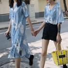 Printed Short-sleeve Shirt / Printed Short-sleeve Midi Shirt Dress