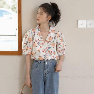 Elbow-sleeve Collared Flower Print Blouse