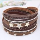 Star Rhinestone Leather Bracelet