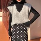 V-neck Cable Knit Vest / Turtleneck Knit Top / Dotted Straight Fit Midi Skirt