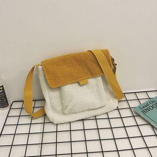 Two-tone Faux Shearling Crossbody Bag