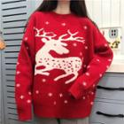 Deer Sweater Red - One Size