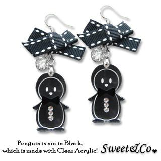 Lovely Black Ribbon & Bowtie Penguin Earrings