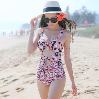Cutout Print Swimsuit