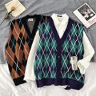 Argyle Button Knit Vest