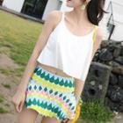 Set: Plain Tankini Top + Printed Swim Skirt