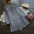 Long-sleeve Check Pleated Dress