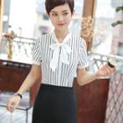 Tie-neck Striped Shirt / Pencil Skirt