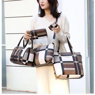 Set Of 6: Plaid Tote Bag + Long Wallet + Make-up Pouch + Barrel Bag + Keyholder + Crossbody Bag