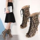 Peep Toe Leopard Print High Heel Lace-up Short Boots