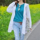 Lace-panel Hooded Long Shirt