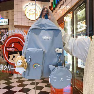 Plain Backpack With Zip Pouch / Bag Charm With Brooch