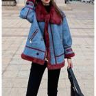 Furry Trim Denim Panel Jacket