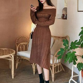 Long-sleeve A-line Midi Knit Dress Dark Brown - One Size