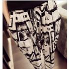 High-waist Print Harem Pants