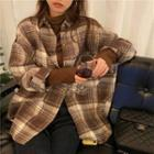 Loose-fit Plaid Shirt Coffee - One Size