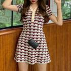 Short-sleeve Patterned Knit A-line Mini Dress As Shown In Figure - One Size