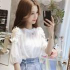 Elbow-sleeve Cold Shoulder Flower Detail Blouse