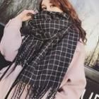 Fringed Trim Plaid Scarf