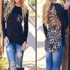 Leopard Print Panel Long-sleeve Top