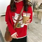 Fortune Cat Embroidered Sweater