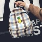Pineapple Embroidered Gingham Canvas Backpack