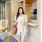 Puff-sleeve Linen Blend Blazer With Sash