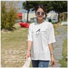 Round-neck Penguin Print T-shirt