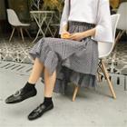 Asymmetric Check High-waist Skirt