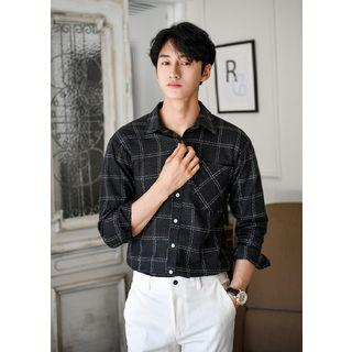 Long-sleeve Graph-check Cotton Shirt